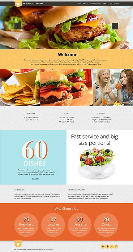 Template 52426 - Fast Food  Responsive WordPress  Theme