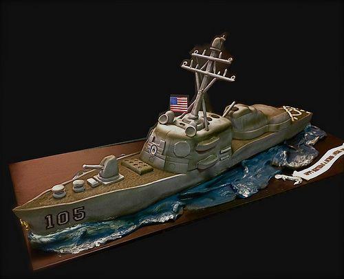 battleship-cake : cake for the USS Dewey Destroyer