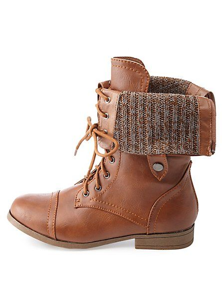 Sweater-Lined Lined Fold-Over Combat Boots #CharlotteRusse #CRfashionista #boots
