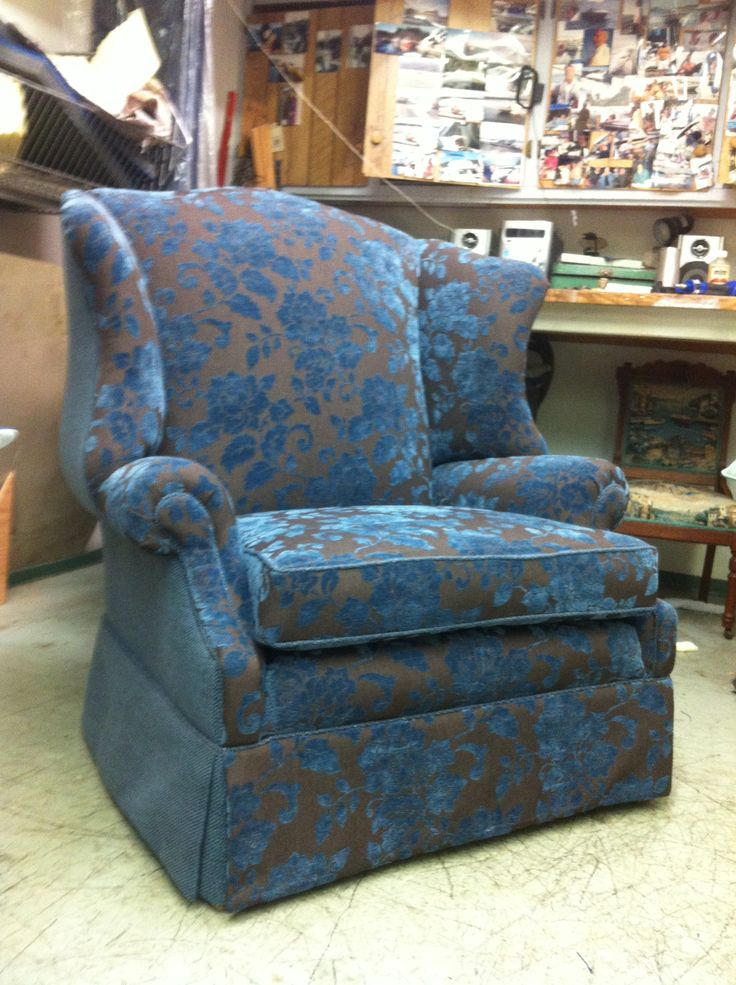 Wing chair upholstered with complementing fabrics from Maxwell Fabrics.