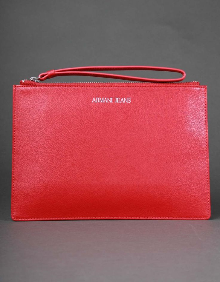 Armani Jeans Red Leather Clutch Bag | Accent Clothing