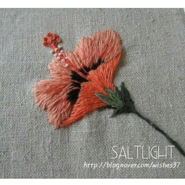 Embroidered hibiscus