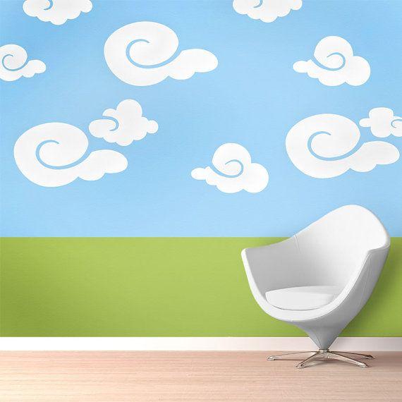 Cloud Wall Mural Stencil Kit Baby Nursery or Kids Room