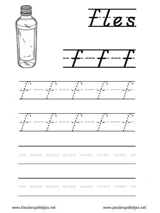 LETTER F   letters leren herkennen en schrijven, alfabet printbladen a t/m z