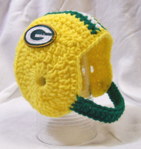 Crochet Baby Helmet Pattern Free : Green Bay Packers Crochet Baby Football Helmet Hat by ...
