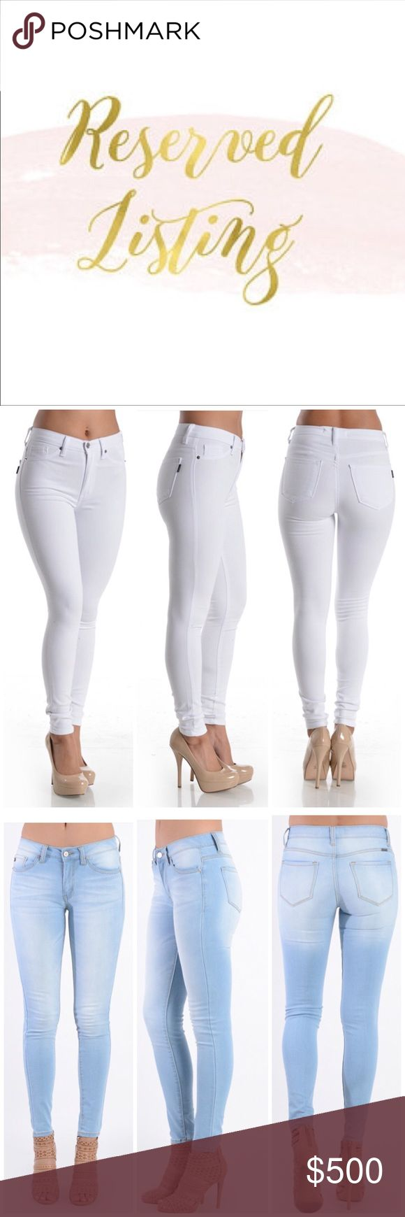 Reserved for White Skinny Jeans size 28 and light blue skinny jeans size 28... $42 each + 10% discount = $75 Kan Can USA Jeans Skinny