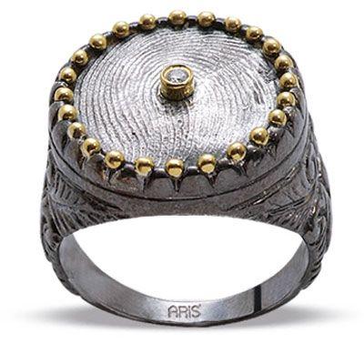Pırlanta 18 Ayar Altın Gümüş Parmak izi Yüzük Ardine, özel tasarım, parmak izi koleksiyonu, hediye