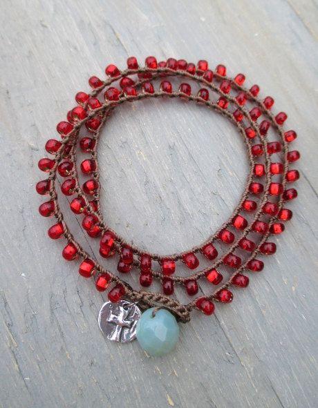 Holiday Crochet wrap bracelet necklace anklet Faith by slashKnots, $35.00