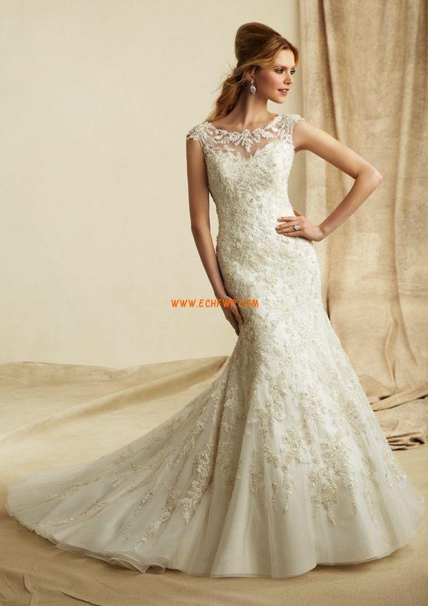 Printemps Sans manches Appliques Robes de mariée 2014