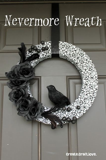 Black and White Halloween Wreath. With rosettes & crow.