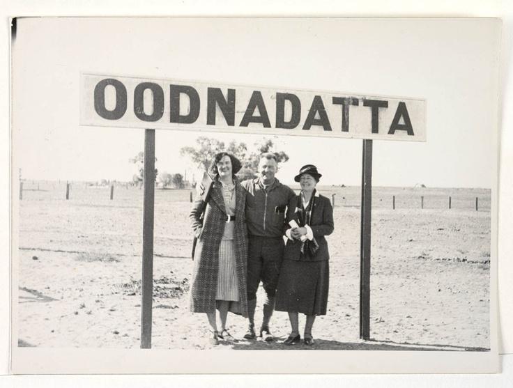 Mr and Mrs Frank Clune and author Miles Franklin (right) at Oodnadatta in South Australia.    Find more detailed information about this photograph:  http://acms.sl.nsw.gov.au/item/itemDetailPaged.aspx?itemID=431966  From the collection of the State Library of New South Wales http://www.sl.nsw.gov.au