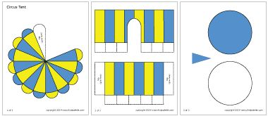 Blue and yellow circus tent template