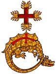 insinia for the Hungarian Knights, known as the Order of the Defeated dragon - The Emperor gives Diana an enameled chain with this symbol, to cover over Matthew's salamander chain.  It once belonged to King Vladislaus (aka Vlad Dracula)