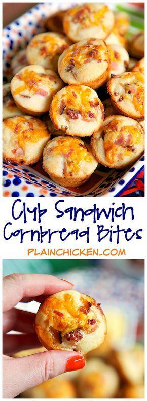 Club Sandwich Cornbread Bites {Football Friday}