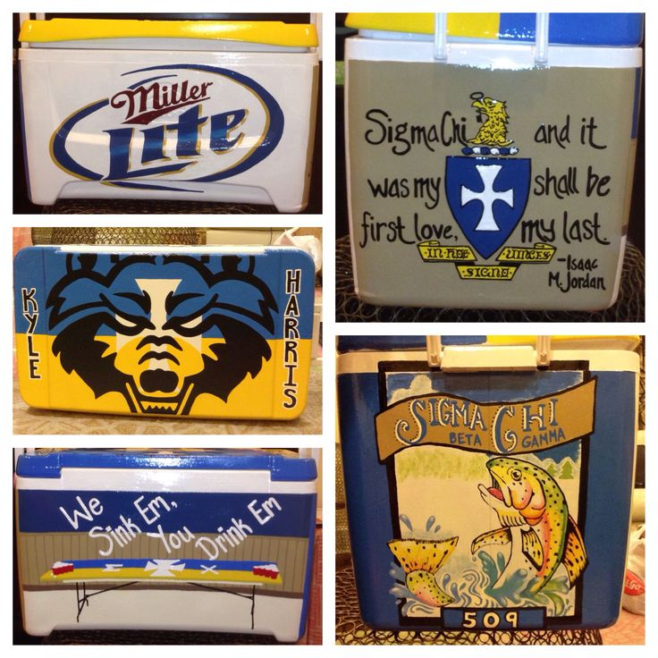 Sigma Chi painted cooler #paintedcooler #fraternity