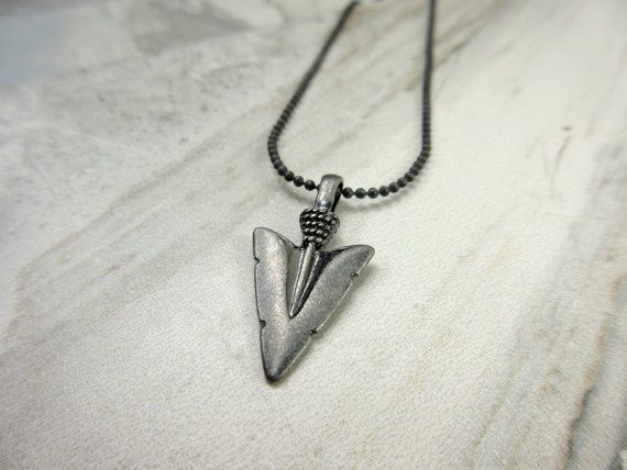 Arrowhead Necklace Guy Necklace Silver Toned by GlowingDawn