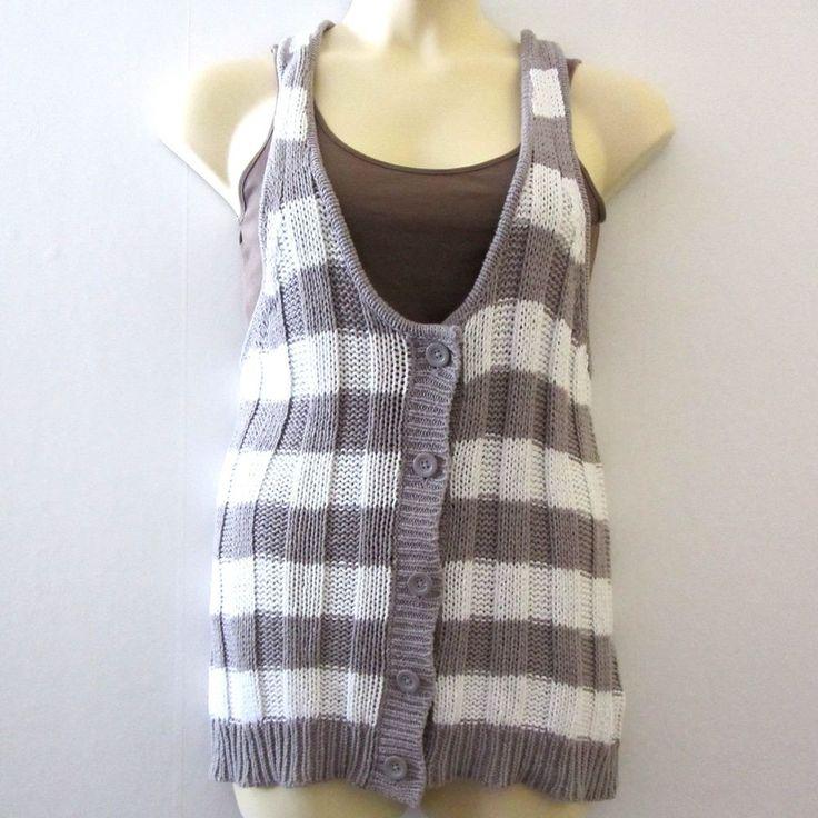 Hang Ten Womens Button Front Striped Knit Vest XL #HangTen #Vest