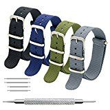 Nato Strap 4 Packs  20mm 22mm Premium Ballistic Nylon Watch Bands Zulu Style with Stainless Steel Buckle