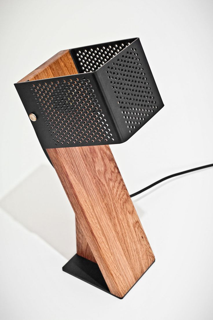 Nice Handcrafted Oblic Wood Table Lamp  #Concept #Design #Modern #Wood        OBLIC lamp is made from a blend of wood and plastic contrast. The shade is perforated to create a contemporary lantern effect that highl...