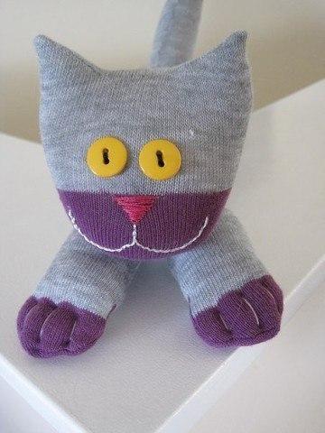 Katze aus Socken basteln - Sockentier Anleitung-dekoking-com-6