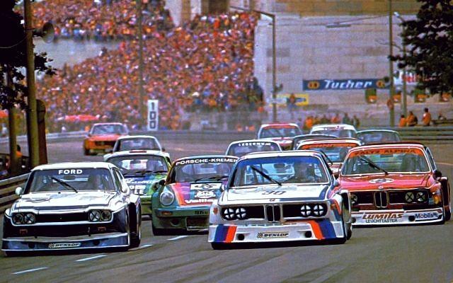 (31) Jochen Mass - Ford Capri RS 3100 - Ford Köln - (30) Hans-Joachim Stuck - BMW 3.0 CSL - BMW Motorsport - (35) Helmut Kelleners - Porsche Carrera RSR - Jägermeister Kremer Racing - (36) Harald Grohs - BMW 3.0 CSL - Faltz-Alpina Essen - 200 Meilen von Nürnberg - 1975 Deutsche Rennsport Meisterschaft, round 5