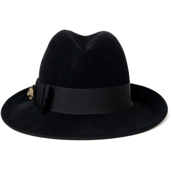 Gucci Feline Fedora Hat - Black found on Polyvore featuring accessories, hats, accessories - hats, gucci, kirna zabete, wide brim fedora hat, silk lined hats, wide brim hat and fedora hat