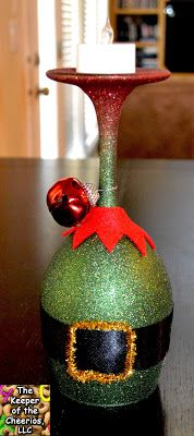 Grinch Christmas Wine Glasses (Candle Holders) - made with dollar store wine glasses and glitter blast spray paint