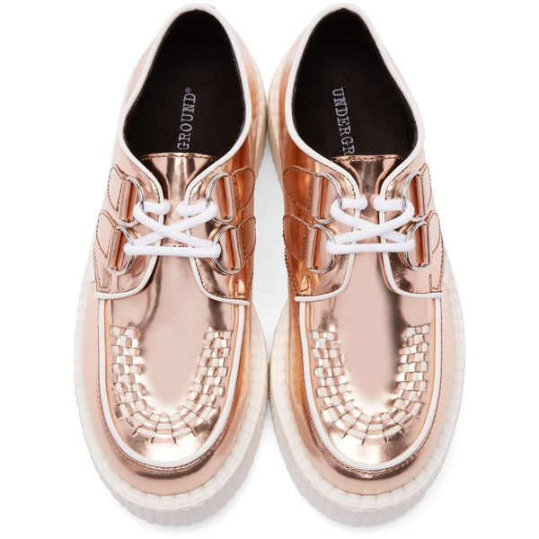 Underground Rose Gold Leather Wulfrun Creepers (€125) ❤ liked on Polyvore featuring shoes, woven shoes, white lace up shoes, underground creeper, underground shoes and genuine leather shoes