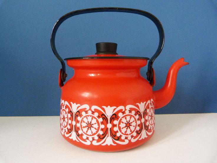 Vintage Finel of Finland Enamel teapot / kettle by planetutopia on Etsy