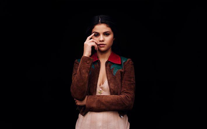 Download wallpapers Selena Gomez, american singer, portrait, suede brown jacket, brunette, beautiful woman