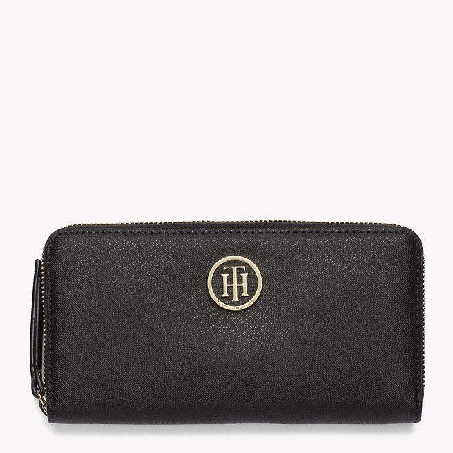 Black Tommy Hilfiger Saffiano Wallet.
