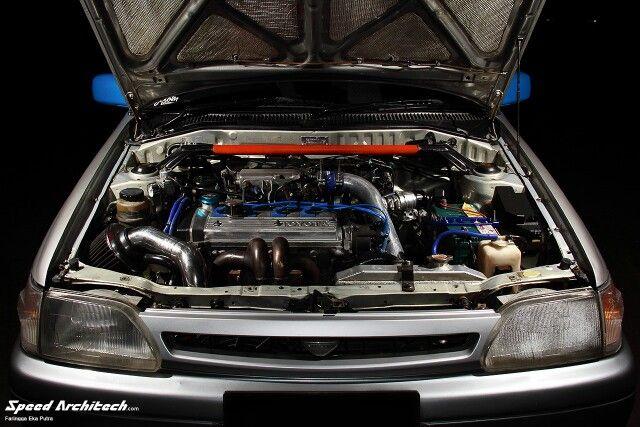 Toyota starlet engine bay