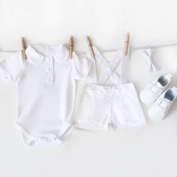 4 Piece Baby Boy White Baptismal Outfit | Boys Seersucker Shortall Christening Set | Matching Baptism Suit Shortalls Bowtie Booties Bodysuit by mabelretro on Etsy https://www.etsy.com/listing/290155597/4-piece-baby-boy-white-baptismal-outfit