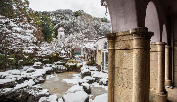1階の展示室からテラスへと出ると、庭園や付近の山の景色を眺めることができます。写真のように雪が積もることはまれのようですが、冬ならではの植物や景色を楽しめますよ。