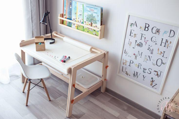 Pokój dziecięcy przedszkolaka | Children's room design for preschooler  Plakat | Poster - Alfabet | Alphabet  Biurko | Desk - IKEA Flisat  Półeczki na książki | Books storage - IKEA Flisat  Projektowanie wnętrz | Interior design  Blog parentingowy | Parenting blog  Blogger