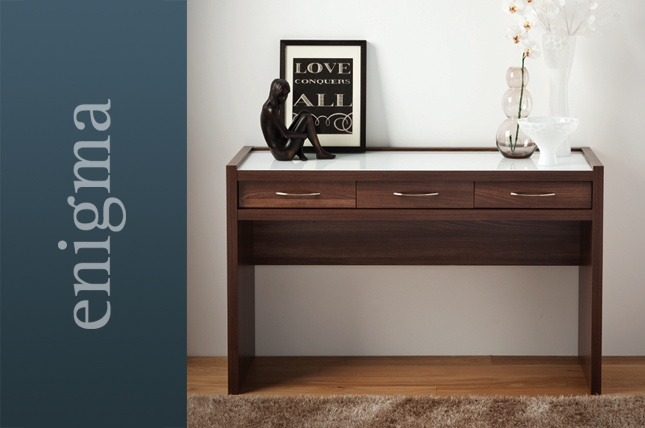 Tobacco Walnut With White Glass And Handles Dresser Http Www Sliderobes Com Bedroom Furniture Enigma Dressing Tables Tobacco Walnut With White G