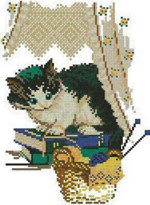 Free Cross Stitch Patterns by AlitaDesigns: Cute Cat Free Cross