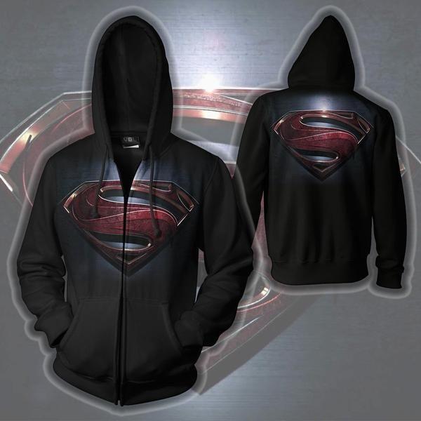 SUPERMAN LOGO ZIP UP HOODIE - MAN OF STEEL SUPERMAN 3D HOODIE - 3D HOODIES