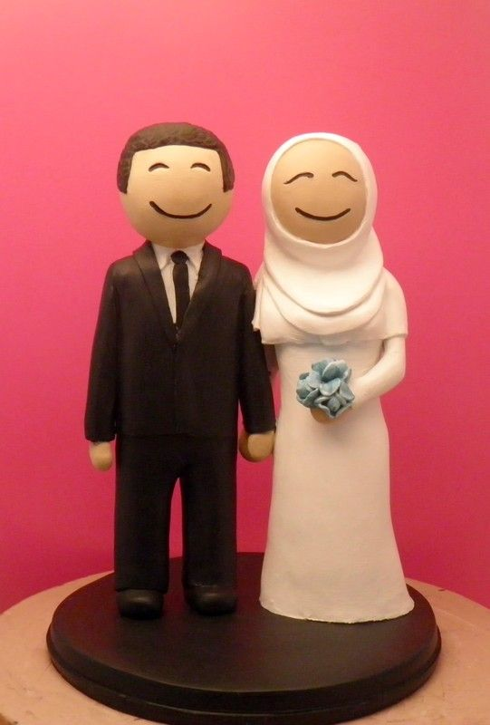 Custom Wedding Cake Toppers Muslim wedding with Peonies bouquet