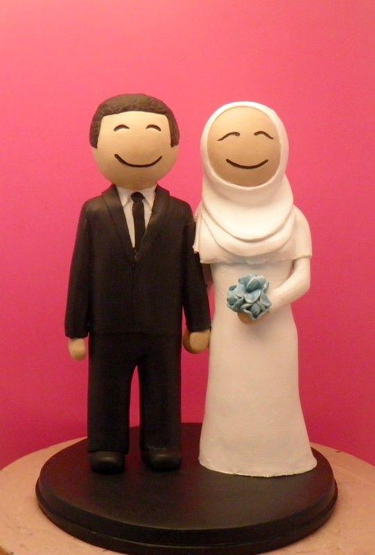 Custom Wedding Cake Toppers Muslim wedding with Peonies bouquet