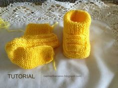 carmenbecares.blogspot.com: PATUCOS BEBE. BABY BOOTIES ( dos agujas). KNITTED TUTORIAL