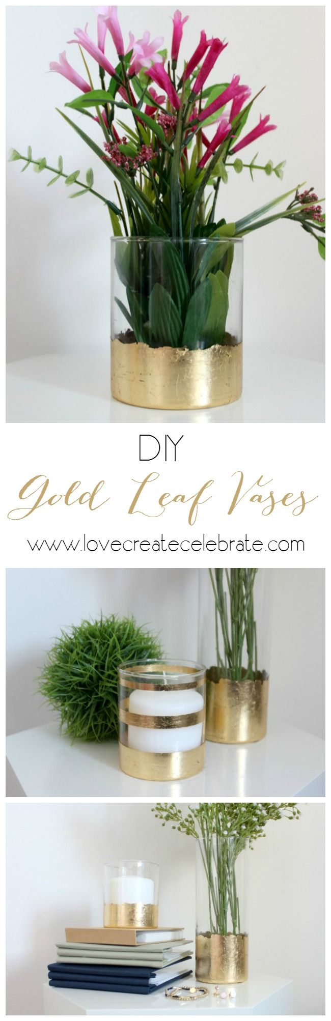 DIY Gold Leaf Vases - Great tutorial to dress up those old vases (or anything made of plastic or glass!). Beautiful modern home accent pieces!