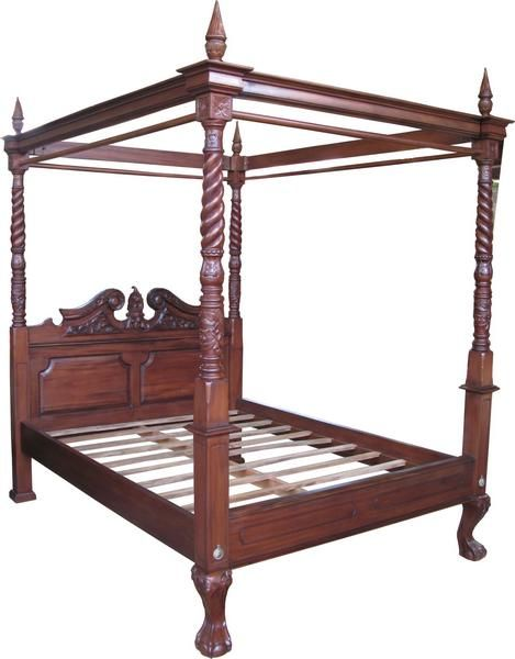 Reproduction queen anne style four poster bed with canopy for Design classics furniture reproductions