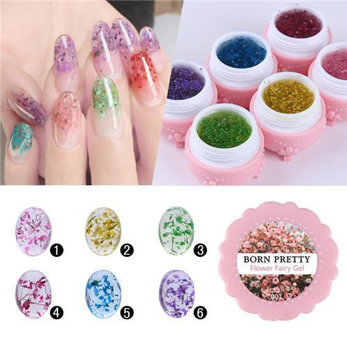 1 Box BORN PRETTY Flower Fairy UV Gel 5g Floral Soak Off Manicure Decor 6 Colors