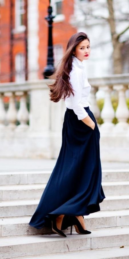 Stunningly simple take on a Carolina Herrera-inspired ensemble by Peony Lim. See more black maxi dresses on shopstyle.com