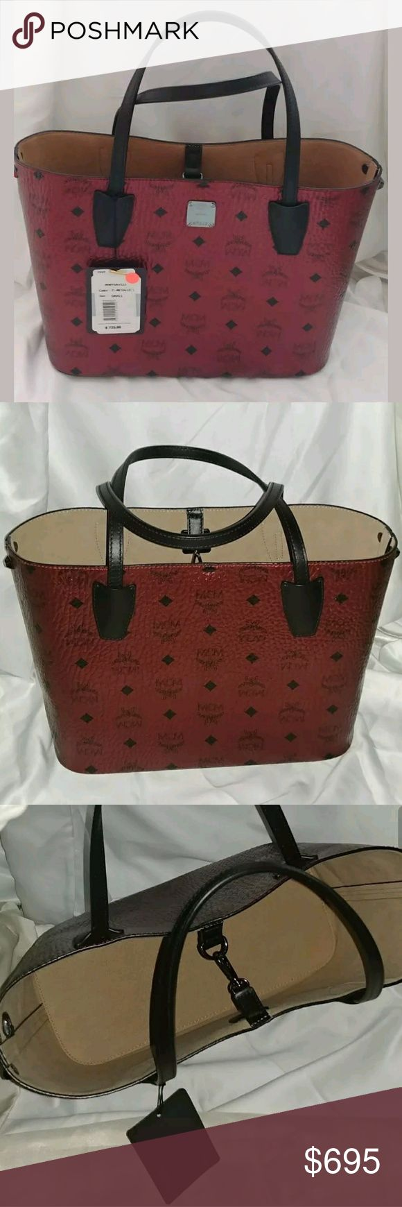 """$725 Auth MCM Metallic Project Visetos Small Tote Extremely Rare * Sold Out *MCMshopperbag. * The bag is multi-in color and is made of metallic monogram coated canvas. * MCMlogo * Black leather trim * Hook closure. * Individually numbered logo plate at front. * No pouch - didn't come with one. * Non MCM dust bag included * The measurements of the bag are 11"""" across bottom, 13"""" length top , width 5"""", the height is 8.5"""" and has double handle top handles with 6.5"""" drop. A highly…"""