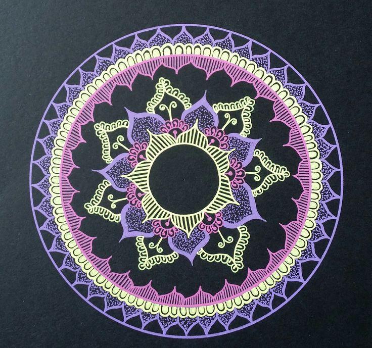 - Purple/Yellow/Pink mandala - Drawn freehand - Gellyroll Moonlight pens from Sakura
