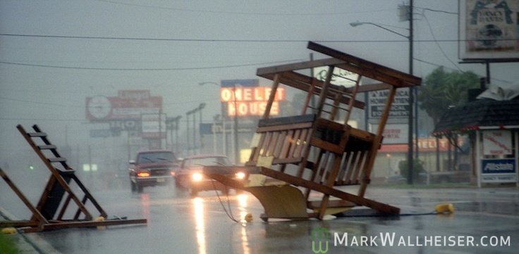 The streets of Panama City as Hurricane Opal pounds the Florida panhandle as a category three storm when it came ashore near Pensacola, Florida October 4, 1995.  It was the strongest hurricane of the 1995 season and killed 63 people, 13 in the United States.  Hurricane Opal's name was retired the following year.
