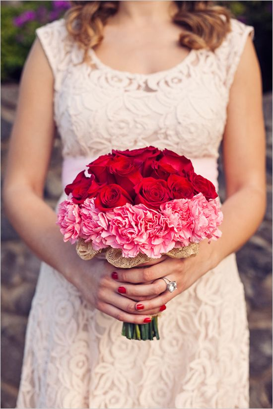 This is a great example of layering colors and textures. The red roses, pink carnations, and burlap accents come together for a fun, unique bouquet. Roses and carnations are available year-round and in a variety of eye-catching colors at GrowersBox.com!: Valentines Wedding, Bridal Bouquets, Red Bouquets, Bridesmaid Dresses, Wedding Ideas, Red Rose, Pink Carnations, Valentines Day Wedding, Red Wedding Bouquets