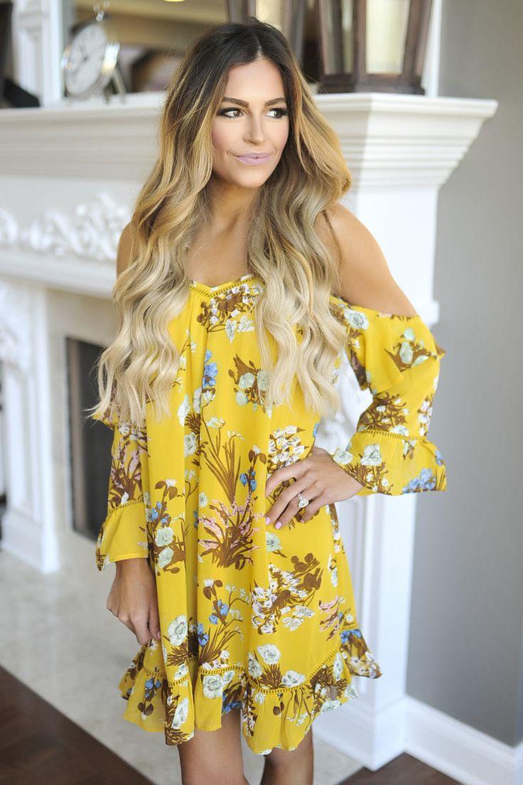 Mustard Floral Cold Shoulder Dress - Dottie Couture Boutique